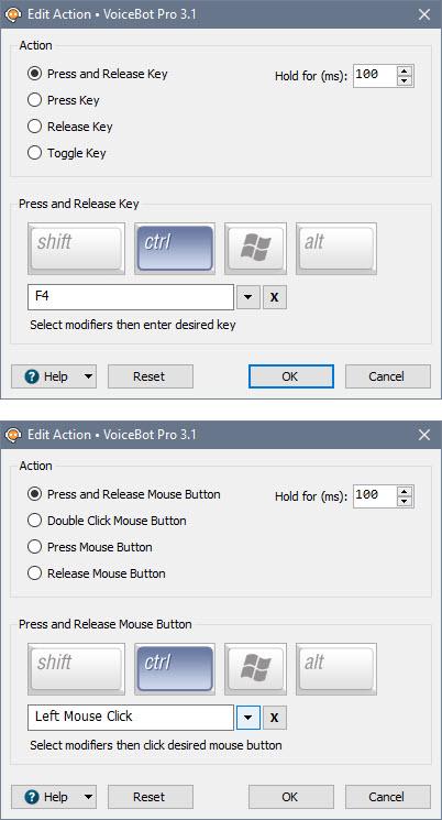 Keyboard Action Edit Window