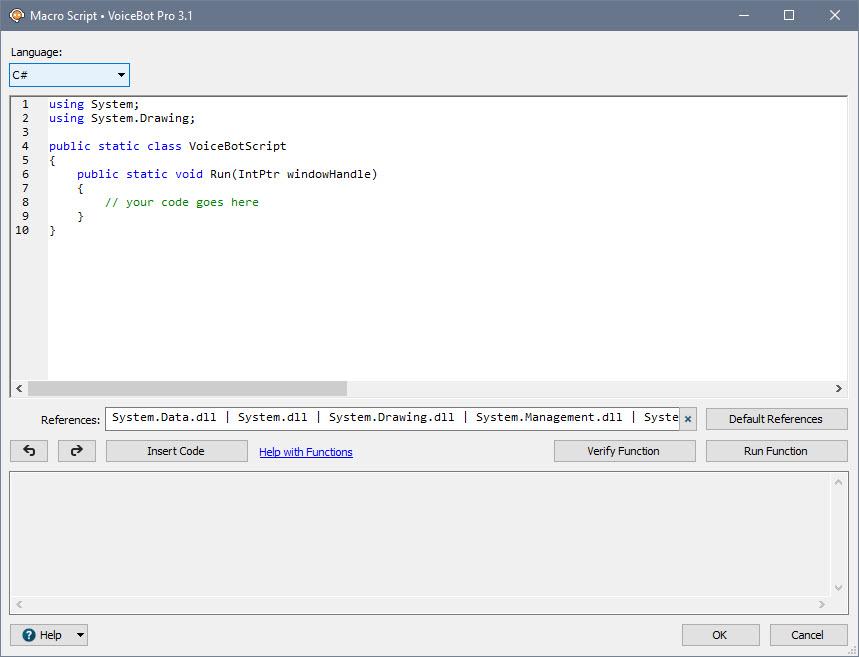 Script Action Edit Window