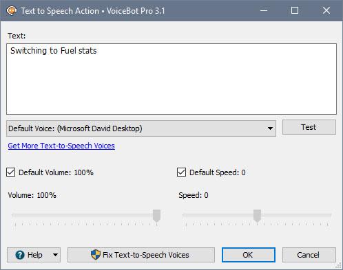 Text-To-Speech Action Window