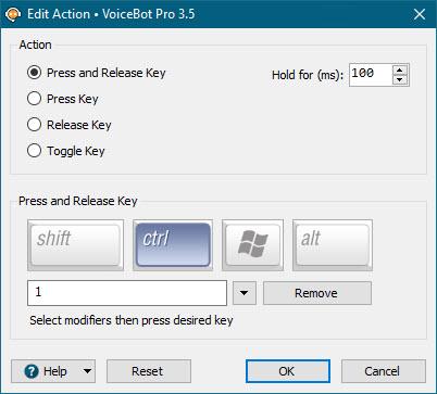 Edit Key Press/Mouse Click Action