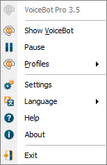 VoiceBot Tray Menu