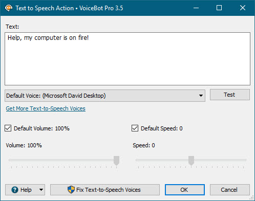 Text-To-Speech Action Window